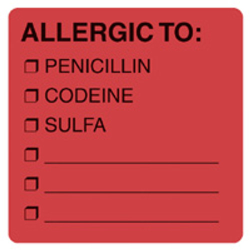 """ALLERGIC TO/PEN/COD/ETC"" - FL. RED"