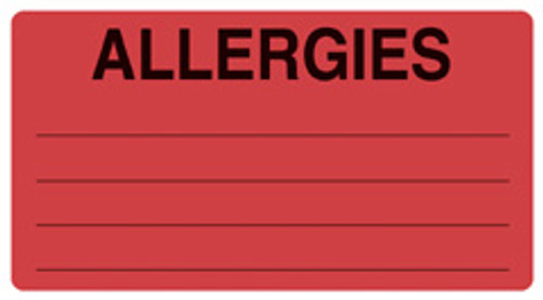 """""""ALLERGIES"""" w/Lines - FL. RED"""