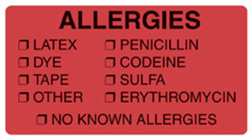 """Allergies - Latex, Dye, Tape, Other, Penicillin, Codeine, Sulfa, Erythromycin, No Know Allergies"" Label  -  Fluorescent Red - 3-1/4"" x 1-3/4"" - 250/Box"