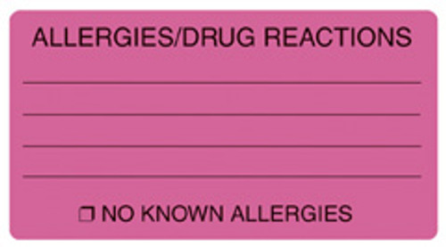 """ALLERGIES/DRUG REACTIONS"" Label - FL. PINK - 3-1/4"" x 1-3/4"" - 250/Box"