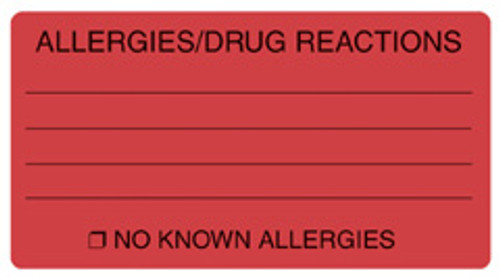 """ALLERGIES/DRUG REACT"" - FL. RED"