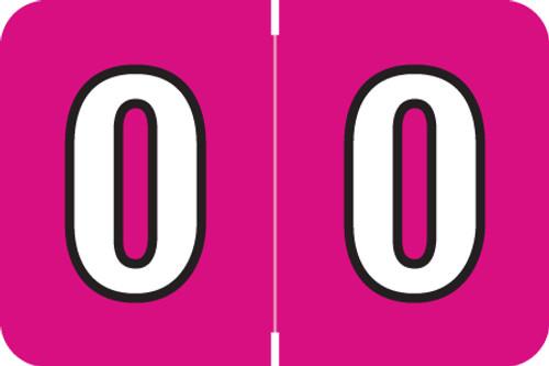 "Amerifile L1000 Series Numeric Label - ""0"" - Raspberry Color - ARNM Series - 1-1/2"" W x 1"" H - 500/Roll"