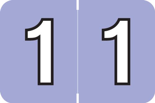 "Amerifile L1000 Series Numeric Label - ""1"" - Violet Color - ARNM Series - 1-1/2"" W x 1"" H - 500/Roll"