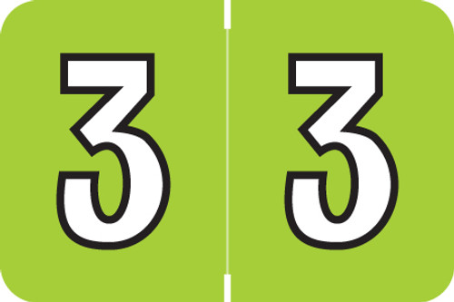 "Amerifile L1000 Series Numeric Label - ""3"" - Lime Color - ARNM Series - 1-1/2"" W x 1"" H - 500/Roll"
