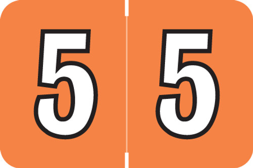 "Amerifile L1000 Series Numeric Label - ""5"" - Tangerine Color - ARNM Series - 1-1/2"" W x 1"" H - 500/Roll"