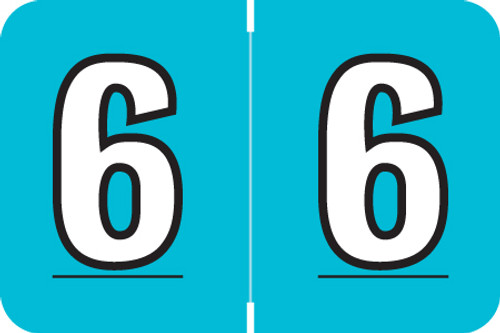 "Amerifile L1000 Series Numeric Label - ""6"" - Turquoise Color - ARNM Series - 1-1/2"" W x 1"" H - 500/Roll"
