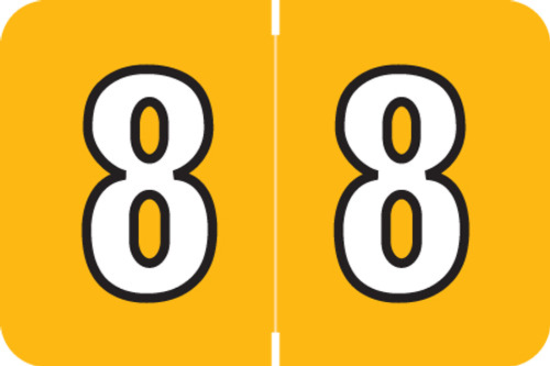 "Amerifile L1000 Series Numeric Label - ""8"" - Amber Color - ARNM Series - 1-1/2"" W x 1"" H - 500/Roll"