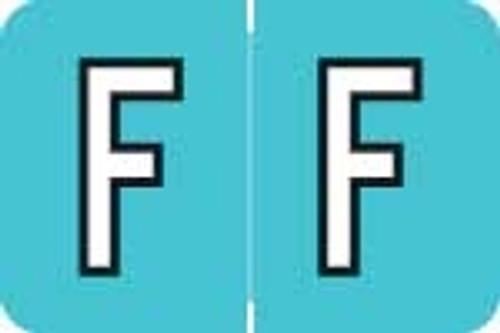 """Alpha Label - BLUE """"F"""" - 1"""" H x 1-1/2"""" W - 500/Roll"""