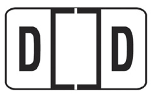 "JETER Alphabetic Labels Letter ""D""- 7200 Series - White - 500/Roll"