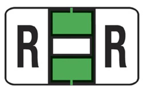 "JETER Alphabetic Labels Letter ""R"" - 7200 Series - Lt. Green - 500/Roll"