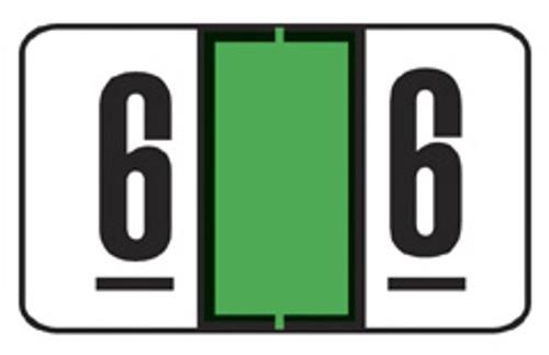 "Numeric ""6"" Label - Jeter 7300 Series - Lt. Green - 500/Roll"
