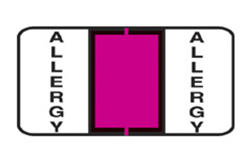 """Allergy"" Specialty Label - Sheets for Ring Binder - 1-1/2"" W x 3/4"" H -  Fl. Pink - 240 Labels per pack"