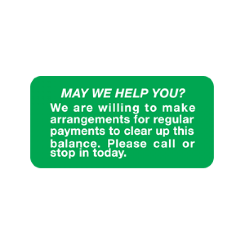 """MAY WE HELP"" Billing Label - Green/White - 2"" x 1"" - 252/Pack"