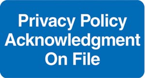 """Privacy Policy Acknowledgement On File"" - 2"" x 1"" Label -  BLUE - 252/Pack"