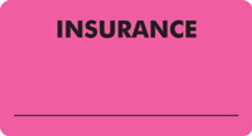 """INSURANCE"" Label Color Fl. Pink -  3 1/4"" x 1 3/4"" - Box of 250"