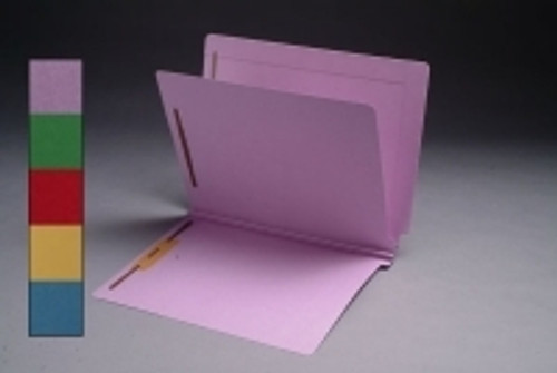 End Tab, 14Pt. Lavender Colored Classification Folder,  Full Cut End Tab, Letter Size with 1 Divider  and 4 fasteners - 25/Box