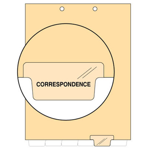 """Correspondence"" Bottom Tab Index Chart Divider - Clear Tab Position 5 - 100/Pack"