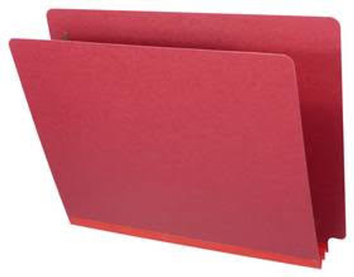 """Deep Red End Tab Type III Pressboard Folder - 2"""" Expansion - Letter Size - No Fasteners - 25/Box"""