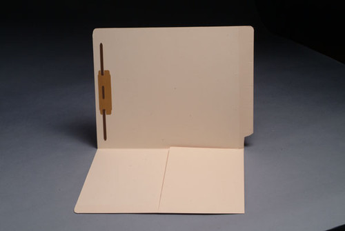 "End Tab 14 Pt. Manila Folder with inside front 1/2 Pocket - Letter Size - 2"" Bonded Fastener in Position 1 - Reinforced Straight Cut Tab - 50/Box"
