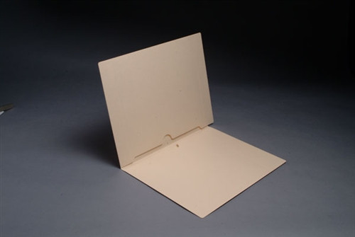 End Tab Manila Pocket Folder - Full Pocket Front and Back - Letter Size - 11 pt - Reinforced End Tab - Fastener in Position 1 - 50/Box