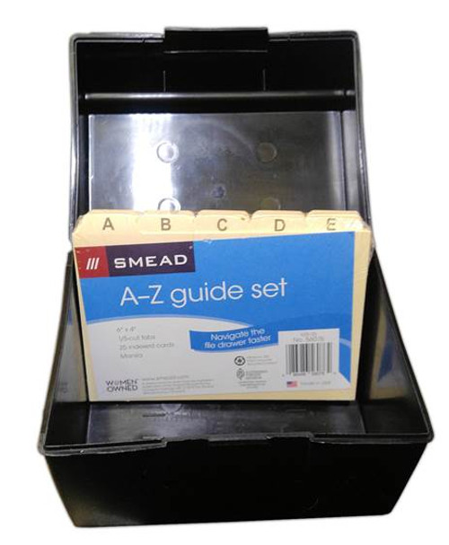 File Box for Labels - Black - Holds Label Sheets (index dividers or labels not included)