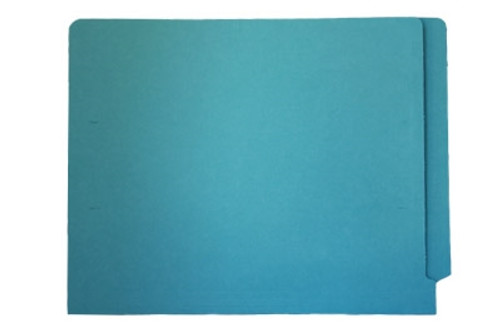 End Tab File Folder - Light Blue - Letter - Fasteners in Positions 2 and 4 - 11 pt - Reinforced Full End Tab - 50/Box