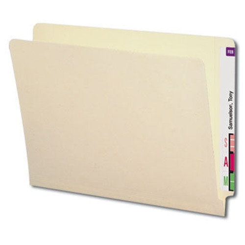 End Tab Folder - Manila - Fasteners in Positions 2 and 4 - Letter Size - Reinforced Tab - 11pt - Full End Tab - 50/Box
