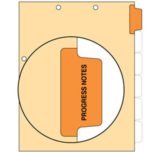 """Progress Notes"" -  Side Tab Index Chart Divider- Orange Tab Position 1 - 100/Package"
