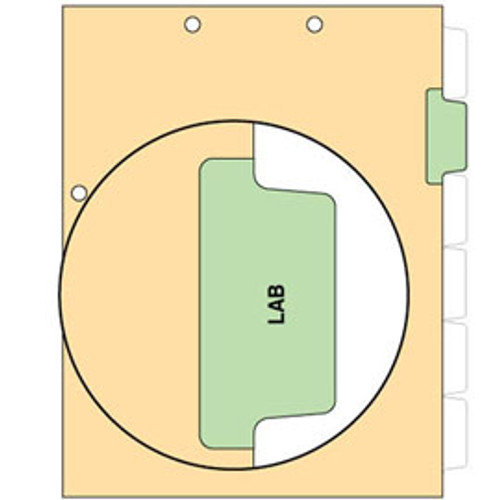 """""""LAB"""" - Side Tab Index Chart Divider-  Light Green Tab Position 2 - 100/Package"""