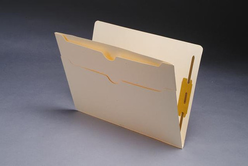 Manila Pocket Folder - Double Pockets on outside back panel - 11 Pt. Manila - Fasteners in Positions 1 & 3 - Box of 50