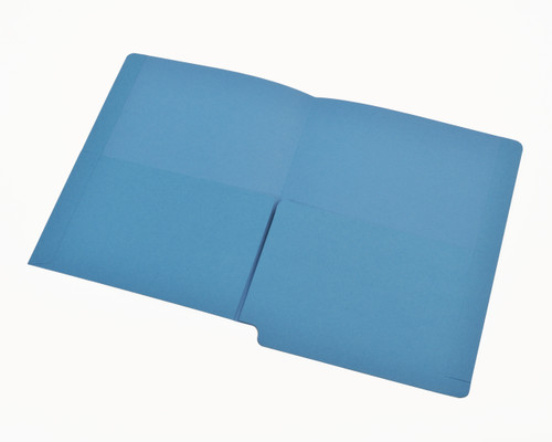 2 Pocket folder - End Tab - Color Blue - Letter Size - Dual 1/2 Pockets Inside Front and Back - 50/Box