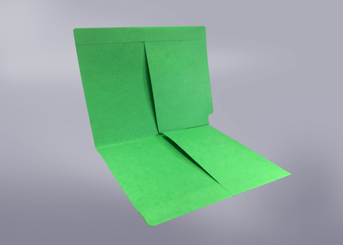 2 Pocket folder - End Tab - Color Green - Letter Size - Dual 1/2 Pockets Inside Front and Back - 50/Box
