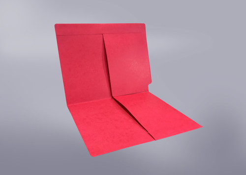 2 Pocket folder - End Tab - Color Red - Letter Size - Dual 1/2 Pockets Inside Front and Back - 50/Box