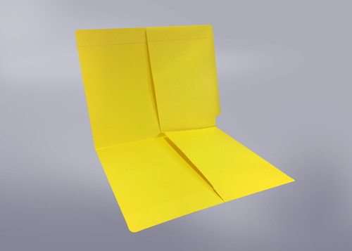 2 Pocket folder - End Tab - Color Yellow - Letter Size - Dual 1/2 Pockets Inside Front and Back - 50/Box