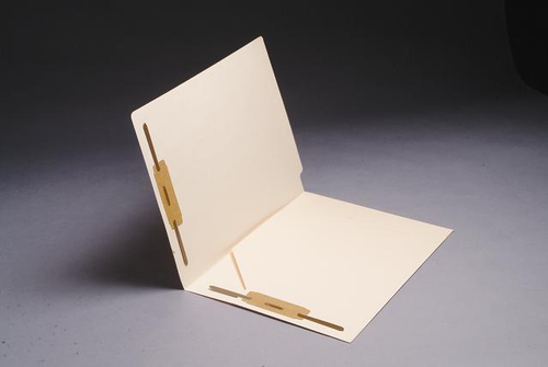 14 Pt. Manila End Tab Folder, Full Cut End Tab, Letter Size, Full Diagonal Pocket inside left - Fasteners in 1 & 3 - 50/Box