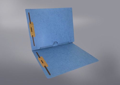 End Tab Folder with Full Back Pocket and Fasteners in Positions 1 & 3 - BLUE - Letter Size - 11 Pt. Colored Stock -  50/Box