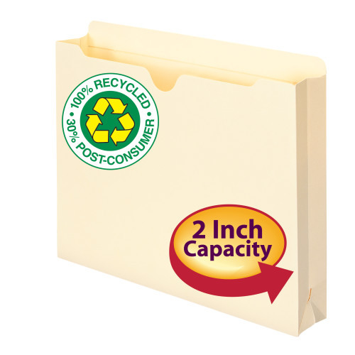 "Smead 75605  100% Recycled File Jacket, Reinforced Straight-Cut Tab, 2"" Expansion, Letter Size, Manila, 50 per Box (75605)"