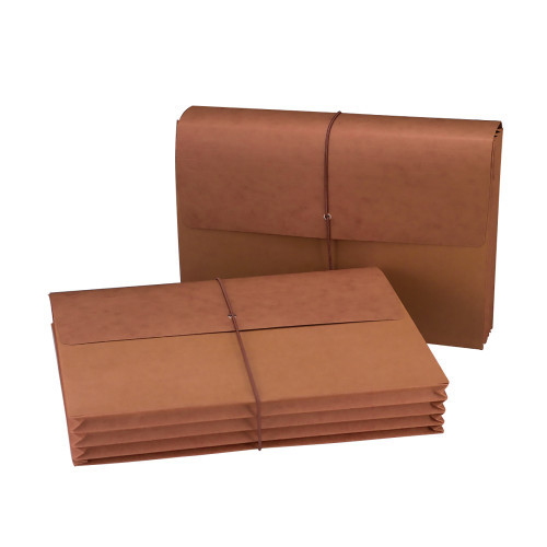 """Smead Wallet, 3-1/2"""" Expansion, Flap and Cord Closure, Legal Size, Redrope, 10 per Box (71007)"""