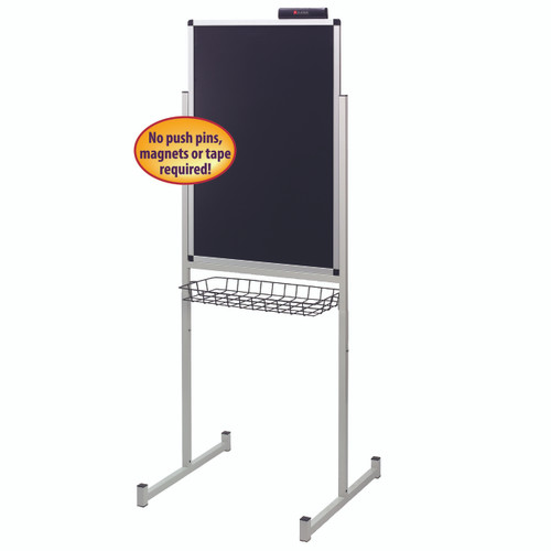 "Justick by Smead, Promo Stand Single Side, 24""W x 36""H, with Surface Technology, Black (02593)"