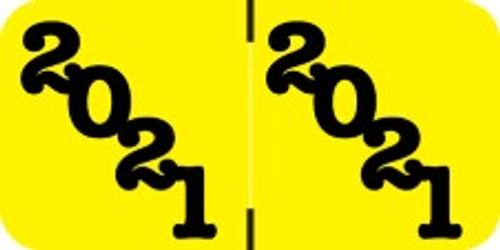 Jeter Yearband Label (Rolls of 500) - 2021 - Yellow - JTYM Series - Laminated