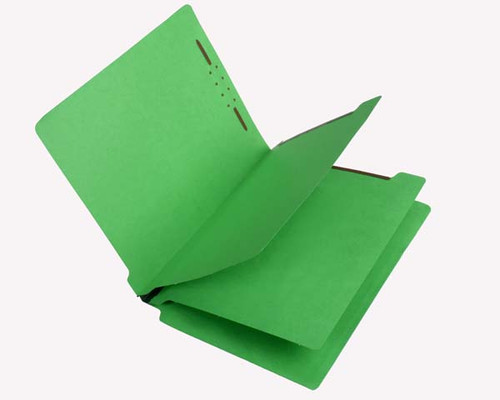 Economy End Tab  Classification Folders - 2 Dividers - Letter Size - Green - Box of 25