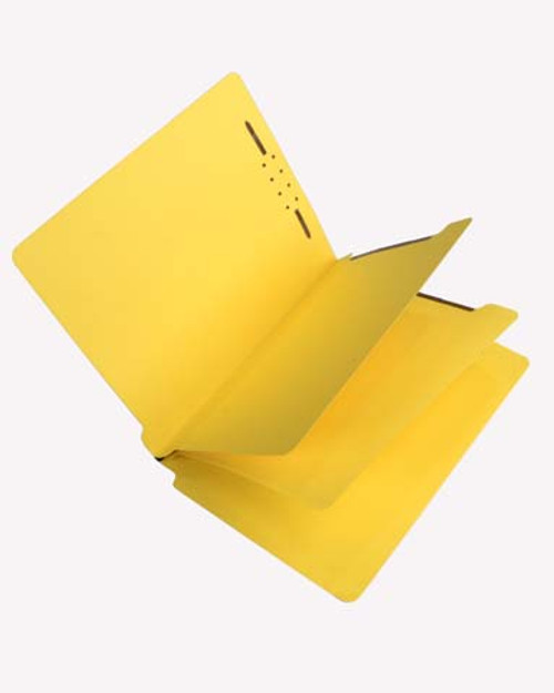 Economy End Tab  Classification Folders - 2 Dividers - Letter Size - Yellow - Box of 25