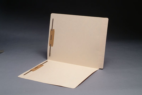 11 Pt. Manila End Tab Folder with Super End Tab, Full Cut 2-Ply End Tab, Letter Size, Fastener Positions 1 & 3 - 50/Box