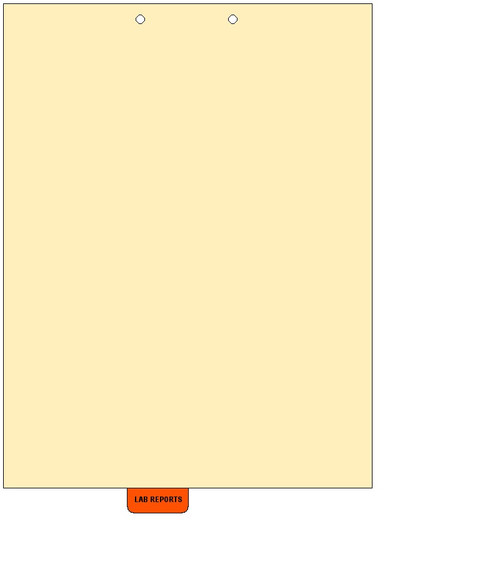 """Lab Reports"" Bottom Tab Chart Divider - Orange Mylar Tab in Position 3 - 50/Pack"
