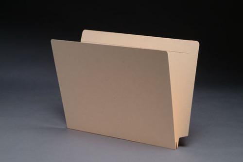 "Dual Tab, End/Top Interlocking Tab, Letter Size, 14 Pt. Manila Folder, 1 Fastener, Full Reinforced Tab, 1.5"" Expansion - 50/Box"