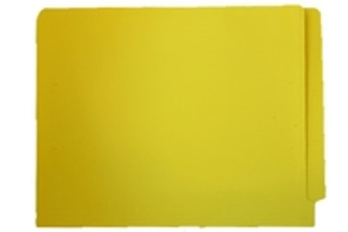 End Tab Folder, 11 Pt. Yellow Colored Stock - Letter Size - Reinforced Tab - Bonded Fasteners in Positions 3 & 5 - 50/Box