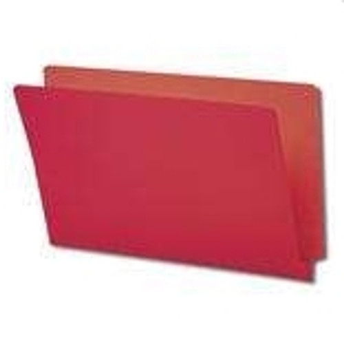 End Tab Folder, 11 Pt. Red Colored Stock - Letter Size - Reinforced Tab - Bonded Fasteners in Positions 3 & 5 - 100/Box