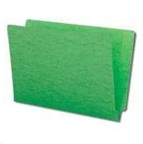 End Tab Folder, 11 Pt. Green Colored Stock - Letter Size - Reinforced Tab - Bonded Fasteners in Positions 3 & 5 - 100/Box