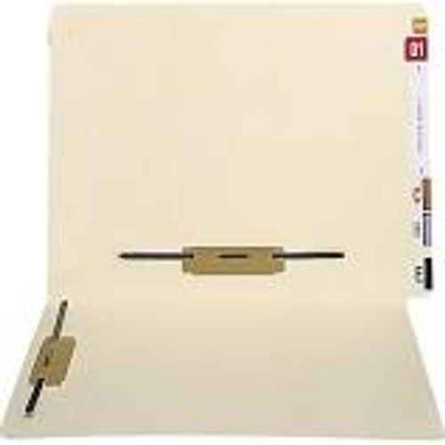 End Tab Open Shelf File Folder - 11 Pt Manila - 2 Ply Tab - Fasteners in Positions 3 & 5 - Letter Size - 100/Box