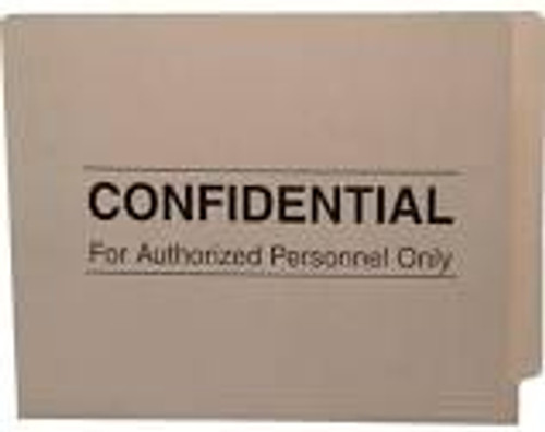 "Amerifile End Tab ""Confidential"" File Folders - 11 Pt - 2 Ply - Manila - Letter - Box of 100"